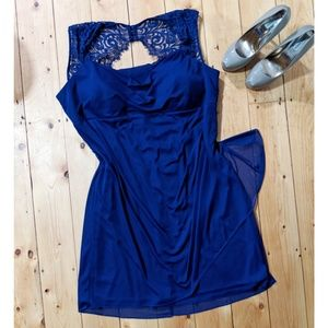 Blue Midi Cocktail Dress with Lace Detail- size 22